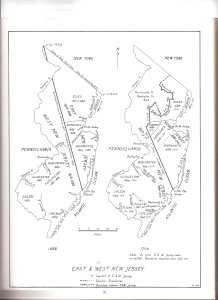 Map of East and West Jersey 1686 and 1700 by John P. Snyder