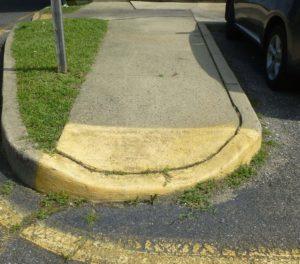 Curb ramp with big lip